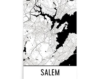 Salem Map, Salem Art, Salem Print, Salem Massachusetts Poster, Salem Wall Art, Map of Salem, Salem Gift, Salem Poster, Salem Decor, Print