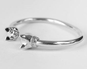 Cat Bangle Bracelet Heads Sterling Silver Cuff Gift for Her Cat lover Cat Head