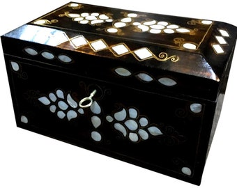 "Handcrafted Mother-of-Pearl Inlaid Natural Wood ""Treasure"" Chest Box - HWC-SM"
