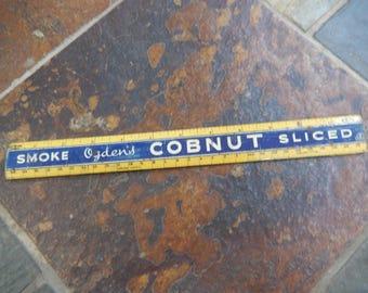 Ruler 1930S Advert Smoke Ogden's Cobnut, Tobacco, Vintage Tin, Tin Ruler, Vintage Adverts, Shop Tin Advert Ruler