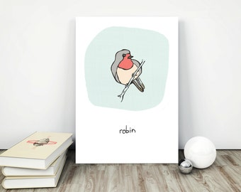 Poster decor download Pink blue collectibles Poster bird printable Painting printable decor Pastel art download Robin digital Line art robin