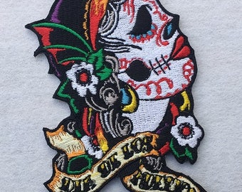Day of the Dead Calavera Sugar Skull Embroidered Iron On / Sew on Patch