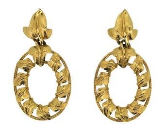 Trifari 1980s Gold Tone Ivy Leaf Vintage Earrings
