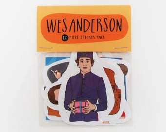 WES ANDERSON 12 pc sticker set, sticker pack, Wes Anderson stickers, Bill Murray, Moonrise Kingdom, The Life Aquatic, Grand Budapest hotel