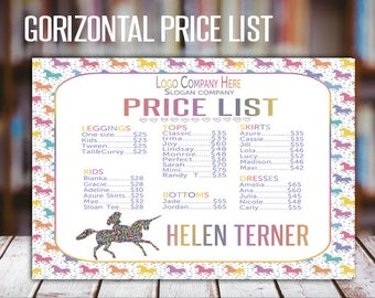 Gorizontal LLR Price List, Unicorn Style, Price Poster, LLR Price SignFashion Consultants, wall sign-18x24 (poster) - 8,5x11 (home printing)