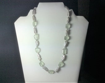 Native faceted green amethyst and pearl necklace