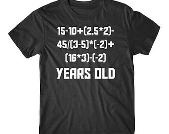 15 Years Old Algebra Equation Funny 15th Birthday Math Shirt