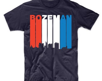 Retro Style Red White And Blue Bozeman Montana Skyline T-Shirt