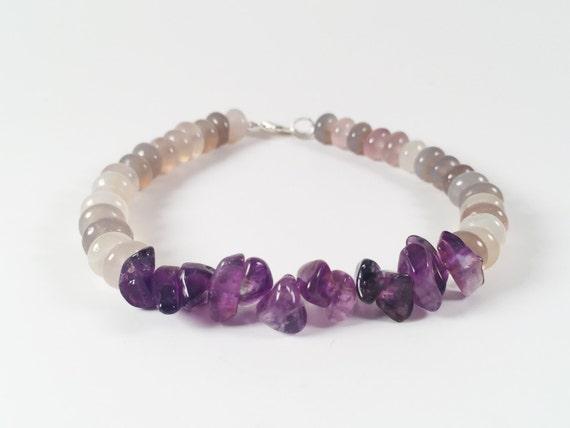 Smokey Quartz and Amethyst Bracelet, Gemstone Bracelet, Raw Stone Bracelet, Meditation Bracelet, Natural Bracelet, Gift For Her