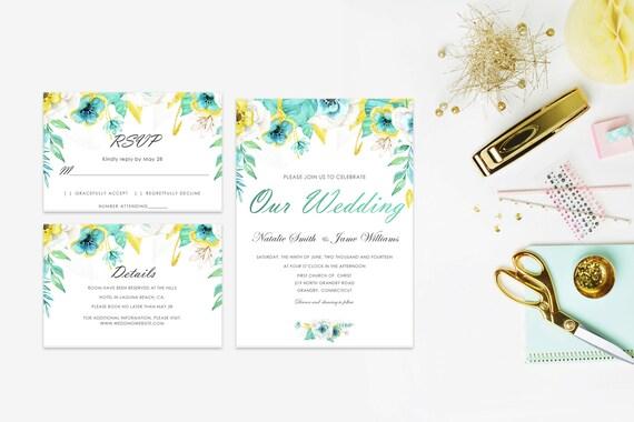 Floral wedding invite word_6,INSTANT DOWNLOAD, Editable Wedding template invitation. Microsoft Word template.Wedding Printable