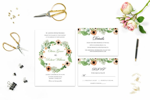 Floral wedding invite word_33,INSTANT DOWNLOAD, Editable Wedding template invitation. Microsoft Word template.Wedding Printable