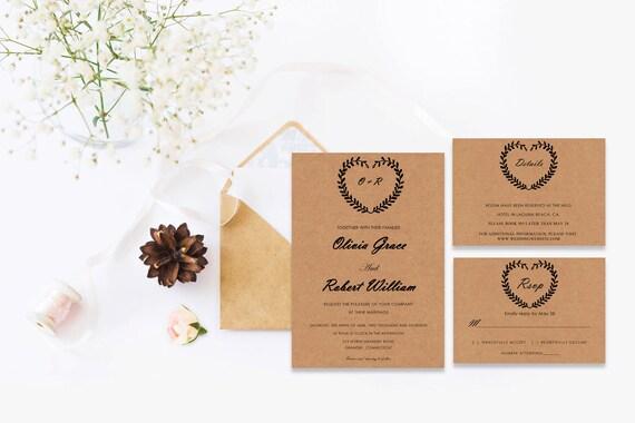 Rustic wedding word invite_2,INSTANT DOWNLOAD, Editable Wedding template invitation. Microsoft Word template.Wedding Printable