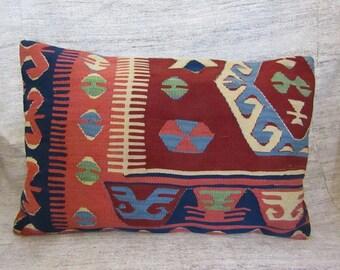 "Turkish Kilim Pillow,16""x24""inches,40x60cm,Turkish Decorative Handmade Kilim Pillow Cover,Traditional Turkish Kilim Pillow"