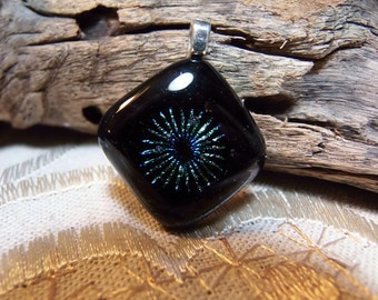 Black Dichroic Glass Pendant