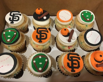 Giants Baseball Fondant Cupcake Toppers (other teams available)