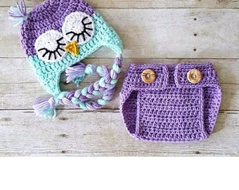 Crochet Owl hat with diaper cover