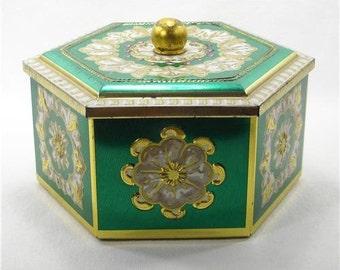 Vintage Decorative Hexagon Tin Box