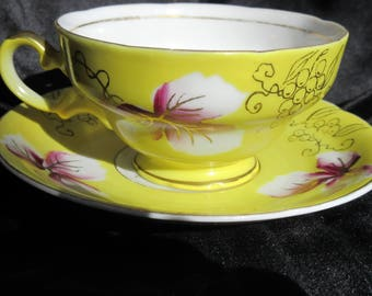 yellow china tea cup and saucer, Royal Shafford, 1910s/20s, hand painted, bright, grape design,gold accents,collectible excellent condition