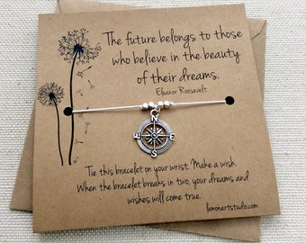High School Graduation Gift Class 2017 College Graduation Gift Inspirational Compass Bracelet Compass Charm Journey Card Silver Compass