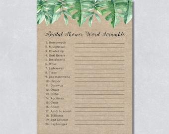 Word scramble game, printable watercolor tropical  leaves, bridal shower game, rustic burlap, summer, DIY Printable, INSTANT DOWNLOAD