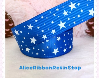 "5 yards 1"" Star printed ribbon, white star ribbon, black star ribbon, red star ribbon, 4th of July ribbon, holiday ribbon, grosgrain ribbon"