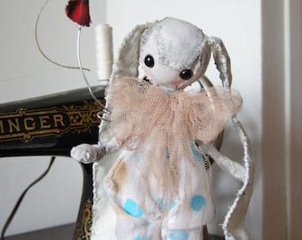 "Textile sculpture, rag doll, ""Circus Bunny"" OOAK"