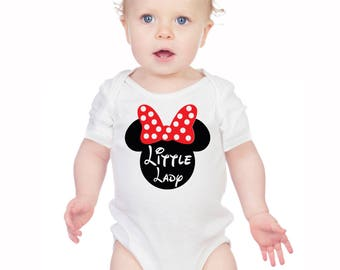 Minnie Mouse inspired white Little Lady baby's bodysuit baby grow vest.