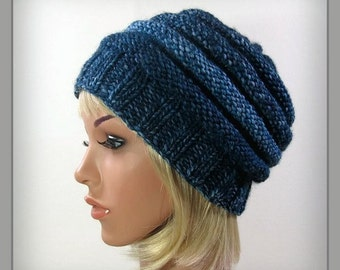 Blue Knit hat - beehive womens hat - knitted winter hat - casual hat - slouchy hat - wool hat