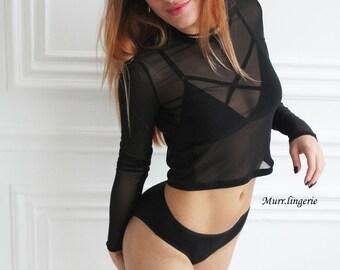 Cropped top mesh shirt, Fishnet Crop T-Shirt, mesh shirt,mesh top, sexy shirt, black shirt, milky shirt, erotic shirt, mesh t-shirt,
