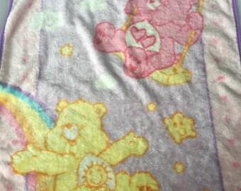 Vintage Care Bears fleece baby blanket