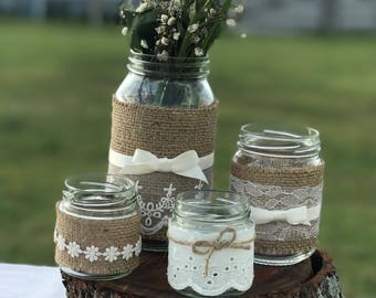 4 Decorated glass jars all different sizes ~ Wedding Decorations, Wedding Centerpiece, DIY wedding, Weddings, votive jar, posy jar