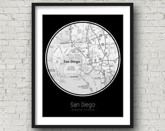 San Diego Artwork San Diego Birthday Gift for Him Valentines Day Gift for Girlfriend - Photographed Road Atlas Artwork with a Unique Design