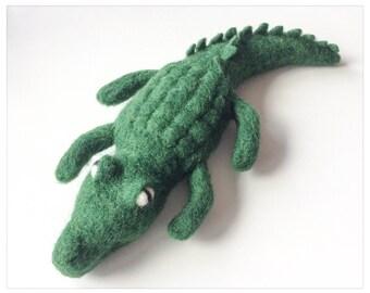 Felted Wool Crocodile, Alligator/stuffed Crocodile wool felted