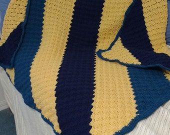 Afghan   54 x 50 Blue/gold ** Ready to Ship**