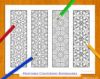 Geometric Patterns Printable Colouring Bookmarks Set Abstract Colourable Digital Download