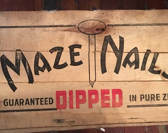 Rare Maze Nails Wooden Crate