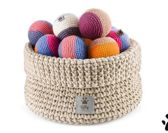 Premium Dog Toys Basket - Beige - 100% handmade