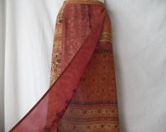Vintage  Colorful Maxi Semi Sheer Boho Hipi Abstract Print Wrap Summer Skirt 90s,Brown Orange and Colour of the Brick Long Printed Skirt