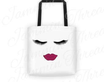 Ask Me About My Lashes Tote Bag / Double sided design / White Tote Bag / Black handles / Made of Quality Duck Canvas and cotton strapping