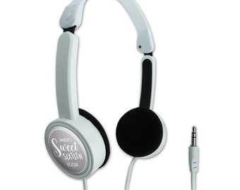 Gray Line Name Sweet Sixteen Date Personalized Travel Foldable Headphones