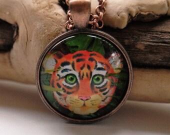 Baby tiger art pendant