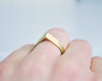 Matt Brass Ring, geometric ring, minimalist