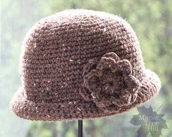 """Crochet Hat - Flower Cloche Beanie in Brown Barley Tweed- XL (23"""")"""