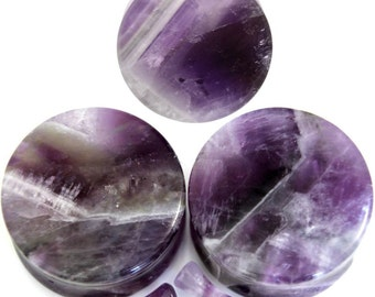 "Purple Amethyst Semi Precious Stone Ear Gauge and Plugs Pair 2ga (6mm), 1/2"" (12mm)"