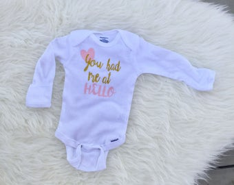 You had me at hello onesie, newborn girl hello onesie, newborn girl onesie, baby girl onesie, baby shower girl, preemie onesie, preemie gift