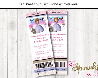 Sophia the First Concert Ticket Style Birthday Invitation - DIY - Print Your Own - Printable