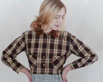 50% Off! Vintage Plaid Cropped Jacket