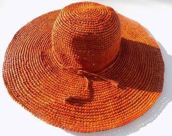 wide-brimmed hat, hat to Sun, woman, wedding, natural hat, 58 cm, wide brim Red Hat Hat flexible, foldable, adjustable, vermilion, pompons
