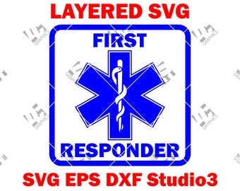 First Responder - EMS Star of Life - EMT Logo - Cutting File  Svg, Eps, DXF, and Studio3 - Cricut, Silhouette Cameo Studio- Instant Download