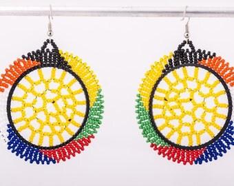 Multicolor beaded round earrings